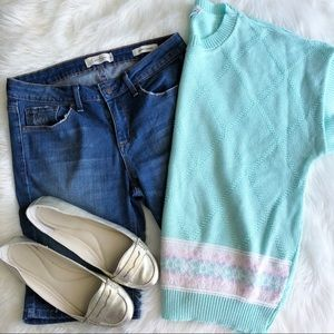 Lady Devon • Vintage Mint Short Sleeve Sweater
